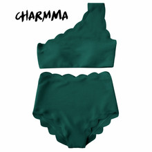 CharMma One Shoulder Woman Bikini Set 2017 Scalloped Swimwear Wave Edge Women Swimsuit Biquinis Bathing Suits Maillot De Bain