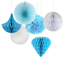 (Blue,White) 6pcs Mix and Match Paper Decoration Kit ( Honeycomb Ball/Heart/Drop/Pin wheel/Pom) for Birthday Showers Wedding