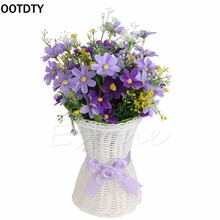 Reusable Artificial Rattan Plastic Flower Tabletop Vase Home Decoration Delicate Designed Vase Brand New Garden Party Decor(China)