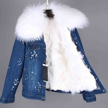 MAO MAO KONG 2017 Real Fox Fur Lining Denim Jacket Coat  Parkas100% Large Raccoon Fur Collar Women Winter Coat Jacket Denim
