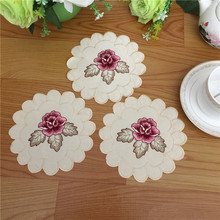 Satin hot embroidery table place mat pad cloth cake placemat doily dining coaster pot cup mug holder office kitchen accessories