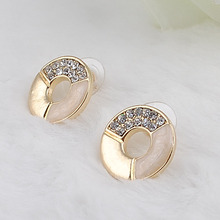 Stud Ear Charms Korean Version of the Popular Full Costume Jewelry Round Ear accessories Point Drill Oil Painting !