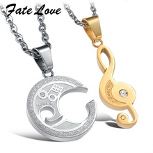 Newest Arrival! STAINLESS STEEL Puzzle Music Note Necklace for couples Unique Design Cute Style 822(China)