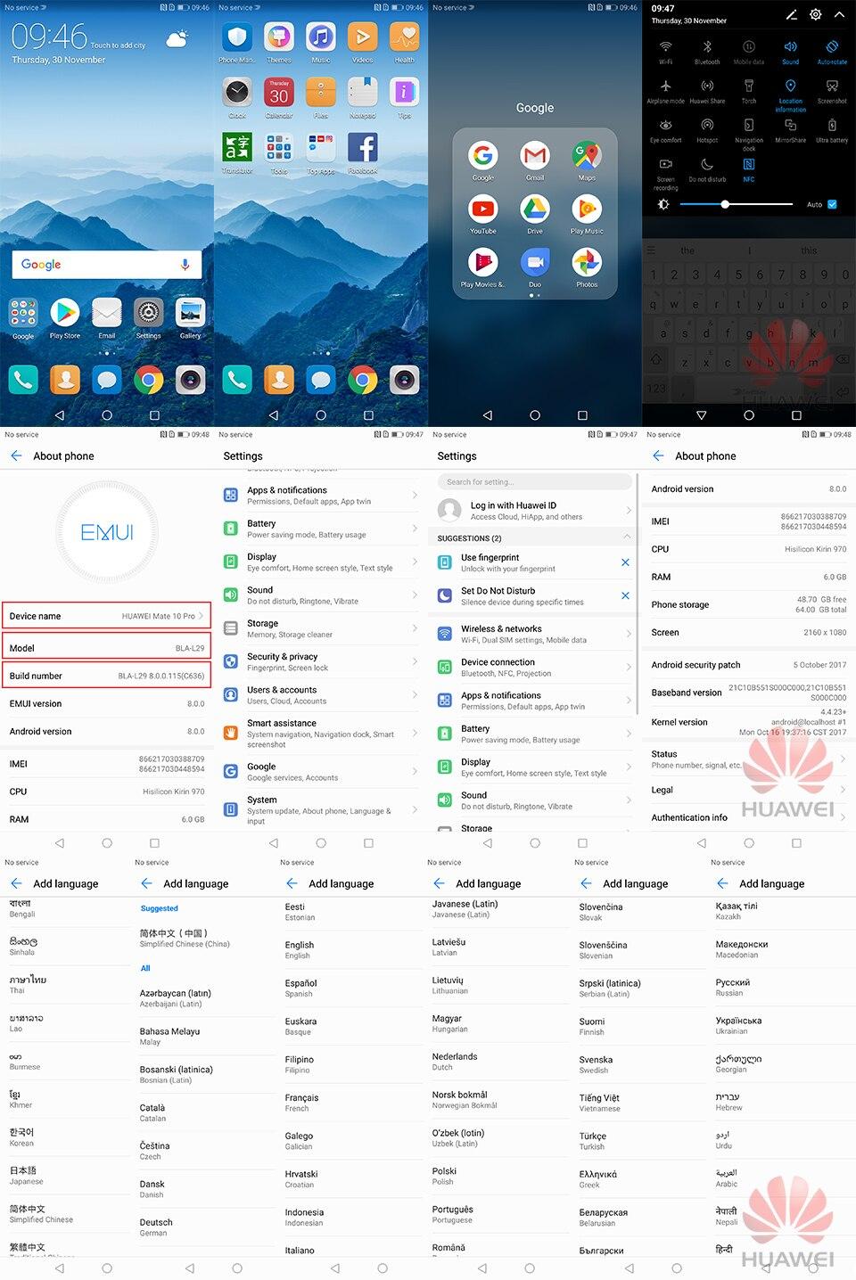 "Mate 10 PRO 6GB RAM 64GB ROM 6.0""Kirin 970 2160×1080 3 Cameras NFC Fingerprint Fast Charge 4G LTE Smartphone"