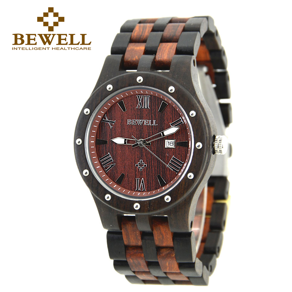 BEWELL clock men sport wooden Quartz watches mode homme 2016 watch chronograph relogio masculino wrist watch with Paper Box 109A<br>