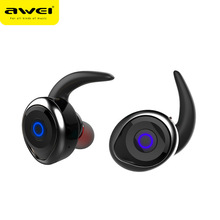 2017 Awei T1 bluetooth earphone true wireless Stereo headset support TWS, smart noise reduction waterproof, IOS power display(China)