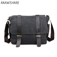 ANAWISHARE Men Messenger Bags Large Canvas Crossbody Bags School Shoulder Bags Laptop Bags Travel Handbags Bolsa Feminina