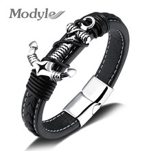 Modyle 2017 New Men's Leather Bracelet Jewelry Punk Stainless Steel Anchor Bracelet For Male(China)