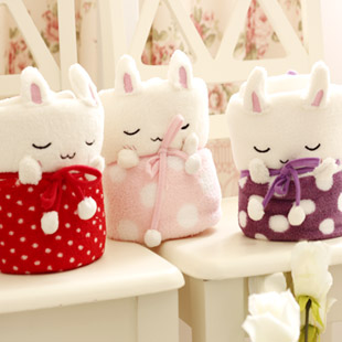 Candice guo plush toy creative cartoon dot sleep rabbit coral fleece car baby blanket cushion pillow stuffed birthday gift 1pc<br><br>Aliexpress