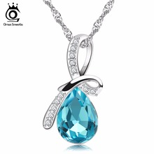 ORSA JEWELS Luxury Water Drop Blue Crystal Pedants Necklace for Women Birthday's Gift Free 44cm Silver Chain Accessories ON02(China)