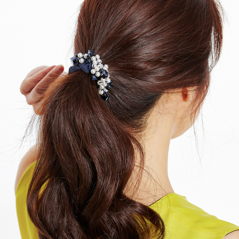CHIMERA Trendy Blue Cloth Simulated-pearl Scrunchies Rubber Hairband ... bad50b0f4695