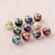 Jewelry DIY Beads Flower Painted Glass Round Beads, Mixed Color, Blue Violet,Royal Blue,Green,Red,White,12mm, Hole: 1mm(China)