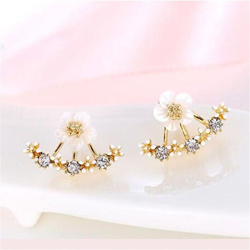 2018 NEW Trendy earrings for women Fashion Flower Crystal Ear Stud Earrings Earring Jewelry for Gift Boucles d'oreilles J07#N (2)
