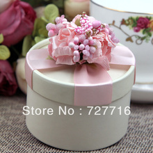 10PCS/LOT PAPER gift box LIGHT PINK Wedding Favor Boxes party candy box - Free shipping(China)