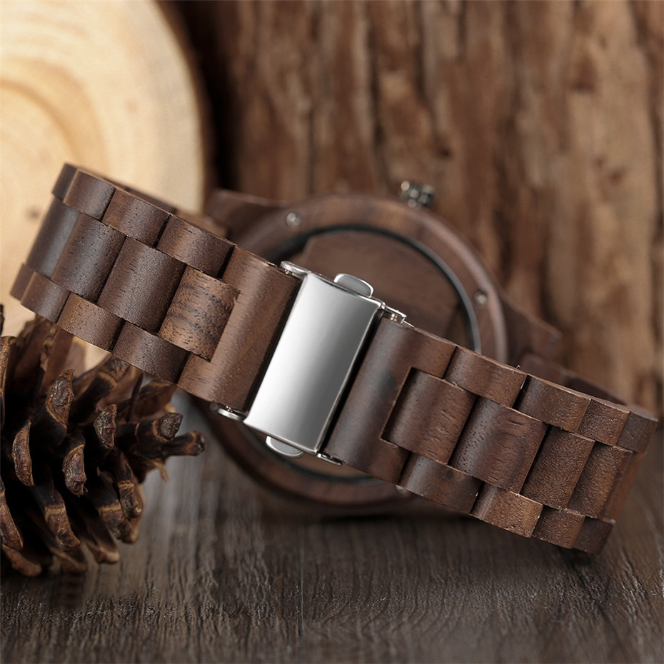 Different color Creative Fashion Casual Sport Simple analog Hollow Bamboo Wooden Men Unique Handmade Wood Quartz Wristwatch+Gift Bags (35)