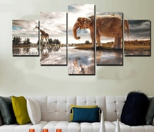 2017 Animal Rectangle Modern Combined Hd Elephant And Giraffe Painting Canvas Print Room Decor Picture Free Shipping/ny-3093