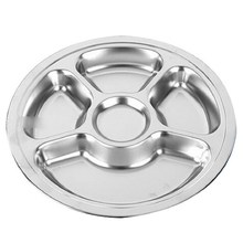 1pcs Stainless Steel Students Grid Dinner Plate Dinnerware Round Plate 5 Sections