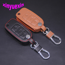 Xinyuexin Leather Car Key Cover Fob Case For VW Jetta Golf Passat Beetle Polo Bora Flip Key Jacket With Keychain No Logo 3Button(China)