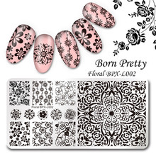 Rectangle Round Nail Stamping Plate Lace Flower Christmas Template Nail Art Image Plate Stamp Stencil Plates for Staming Polish(China)