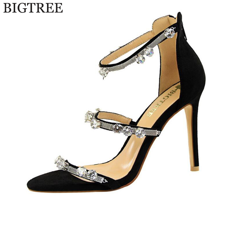 BIGTREE Woman Sandals Women Shoes Rhinestones Gladiator Flat Sandals Crystal Chaussure tenis feminino high heels sandals  k218<br>