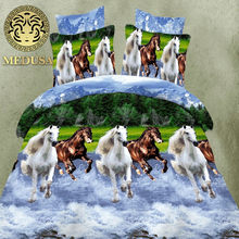 hot 3d animal bedding set king queen twin size 3/4pcs horse wolf panda duvet cover bed sheet pillow cases boys bedclothes(China)
