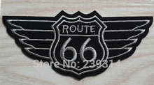 Route 66 with Wing Patch of Sticker, Punk Classic Bar Badge Fabric Iron on Patch, Kids DIY Clothing Accessories Wholesale(China)