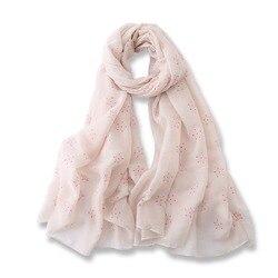 Женский хлопковый шарф с вышивкой