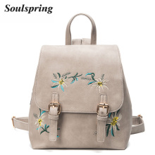 Fashion Floral Pu Leather Backpack Women Embroidery School Bag For Teenage Girls Brand Ladies Small Backpacks Gray Sac A Dos(China)