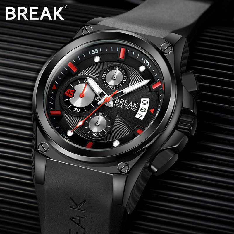 BREAK Men Classic Top Luxury Brand Casual Fashion Rubber Band Sport Wristwatches Man Quartz Chronograph Waterproof Watches clock<br>