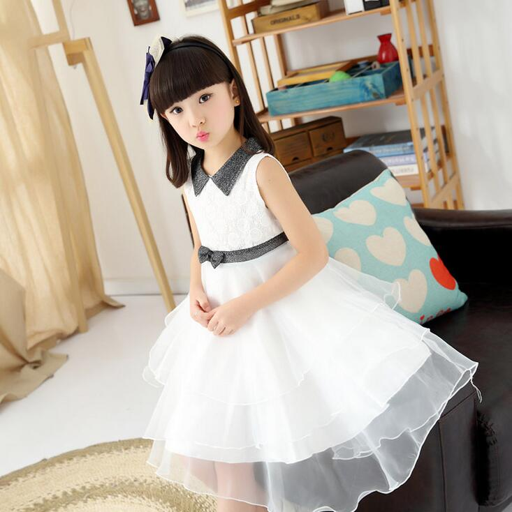 Solid Color Childrens Dress Mesh Party Wedding Sundress Square Collar Vestido Menina Princess Summer Dresses Girl Clothes<br><br>Aliexpress