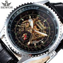 2017 New Fashion SEWOR  Brand Military Men Automatic Watch Men Skeleton Mechanical Watches Leather Strap Watch Relogio Masculino