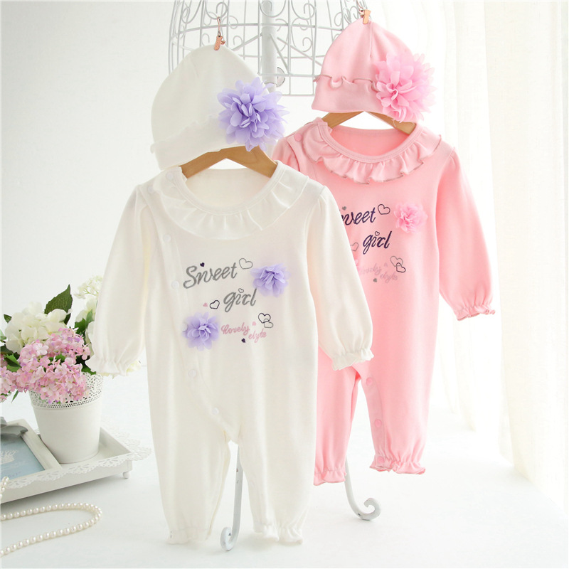 Cuties Newborn Baby Clothes Rompers Princess Infant Long Sleeve Body Suits Girl Jumpsuit &amp; Hats for Girls Clothing Set<br><br>Aliexpress
