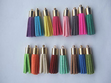 10Pcs 35mm Mixed Suede Leather Jewelry Tassel For Key Chains/ Cellphone Charms Top Plated End Caps Cord Tip