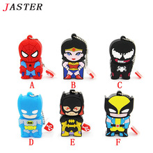 JASTER double face Super hero spider man pendrive cartoon spiderman pen drive 8gb 16gb 32gb usb flash drive memory stick