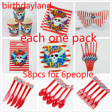 58pcs Pirate theme cup plate napkin mask straw knife spoon gift bag for kids birthday Decorations suppliers luxury set wholesale