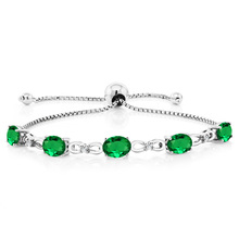 GemStoneKing 5.00 Ct Simulated Emerald Diamond 925 Sterling Silver Adjustable Tennis Bracelet For Women(China)
