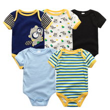 High Quality 5Pcs/Lot Cheap Baby Boys Girls Character Short sleeve Newborn Clothes 2017 Summer Style Jumpsuits Clothing Set