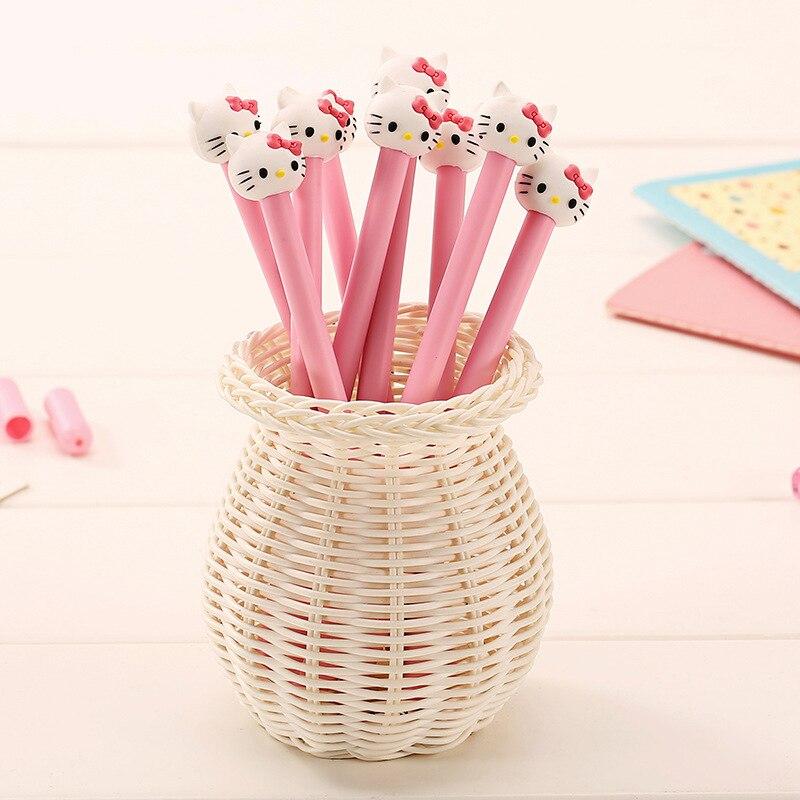 48pcs/set South Korea Office Stationery Pen Pink Hello Kitty Pen Gel Ink Pen Stationery Neutral Pen Advertising Wholesale<br>