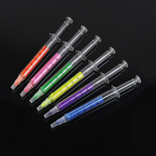6pcs/lot New Novelty Highlighter Pen Stationery Syringe Highlighter Fluorescent Needle Tube Watercolor Nite Writer Pen New