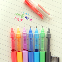 7 pcs/Lot Rainbow color gel ink pen 0.5mm Syringe nib ball point pens Office School supplies caneta colorida Stationery F663(China)