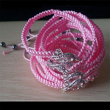 Pink Band Crystal Ribbon Breast Cancer Awareness Hematite End Bead Silvery  Charms Adjustable Macrame Power Bracelets for Women 9ff5b80a1ab7