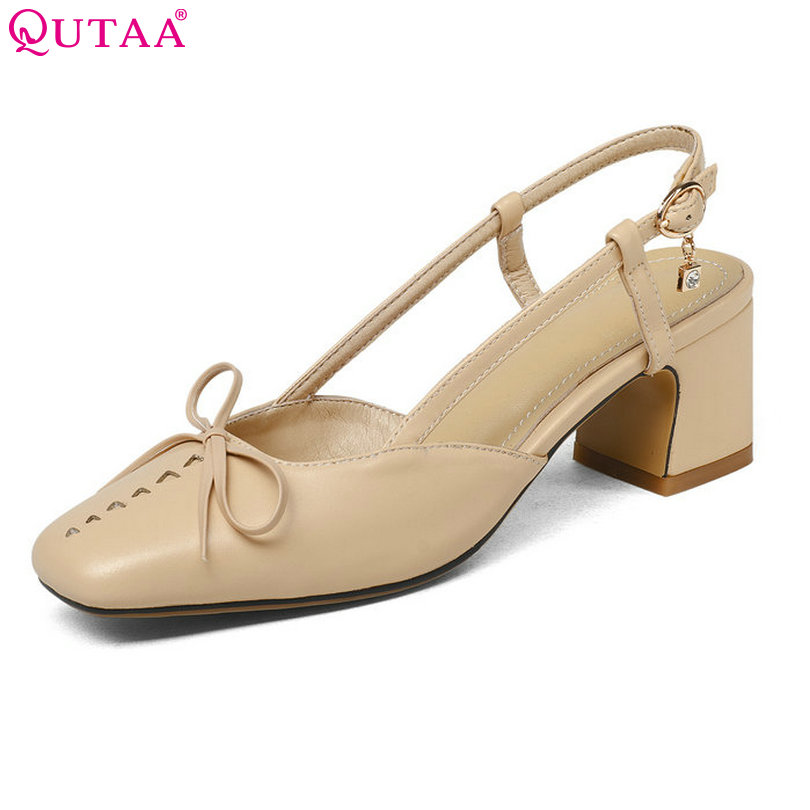 QUTAA 2018 Shoes Women Square High Heel Platform Women Pumps PU leather Buckle Slingback Ladies Wedding Woman Shoes Size 34-43<br>