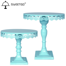 "SWEETGO Bule Metal Cake Dessert Stand, Birthday Party Wedding Event cake display tray ( 10"" and 9"" Diameter Plate )"