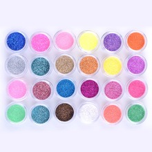 1set 24 Colored Laser Glitter Acrylic Powder Manicure Sculpture Powder UV Nail Art Decoration Polymer Builder Kit(China)