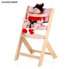 iKayaa FR Stock Baby Wooden High Chair with Cushion Height Adjustable Beech Highchairs for Kids Infant Feeding Dining Chair