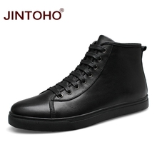 JINTOHO Big Size Winter Men Boots Genuine Leather Male Boots Black Winter Men Shoes Ankle Boots For Men Genuine Leather Shoes