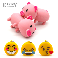 Easy Learning Cartoon Cute Pink Pig Usb Flash Drives 4G 8G 16G Emoji emotion expression Pen Drive 32G Memory Stick PenDrives