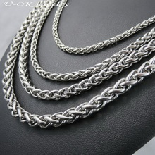 Customizes 3 4 5 6mm Width Silver Man Necklace 316L Stainless Steel Snake Curb Chain Necklace Fashion Stainless Steel Jewelry(China)