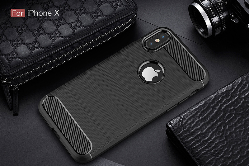 Carbon fiber brushed silicone case iphone x (10)