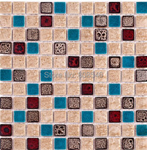 Polished porcelain wall tiles mosaic MD-CR01 blue ceramic mosaic porcelain tiles backsplash bathroom floor tiles mosaic(China)